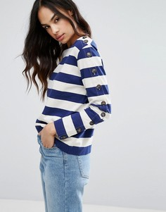 MiH Jeans Breton Stripe Long Button Sleeve Tee - Синий