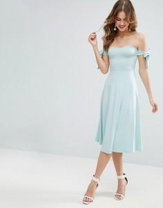 Приталенное платье миди с бантиком ASOS - Синий