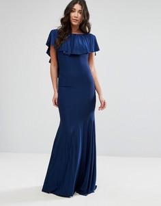 Платье макси с оборкой City Goddess - Темно-синий