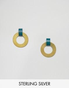 Серьги-кольца с дисками Wolf & Moon - Золотой