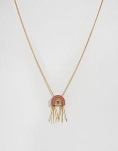 Ожерелье с подвеской-аркой и кисточками Wolf & Moon - Золотой