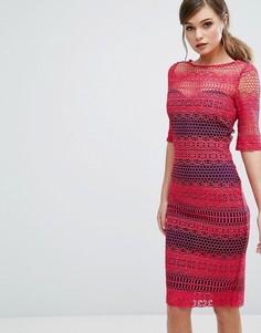 Кружевное платье-футляр с контрастной подкладкой Paper Dolls - Мульти