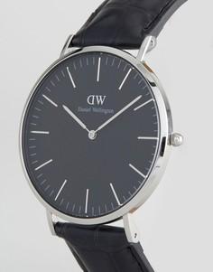 Серебристые часы на кожаном ремешке Daniel Wellington Classic - 40 мм - Черный
