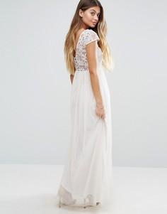 Платье макси с открытыми плечами Vila - Кремовый