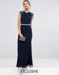 Платье макси с отделкой и кружевной спиной Elise Ryan - Розовый