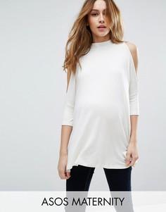Топ для беременных с открытыми плечами и высокой горловиной ASOS Maternity - Белый
