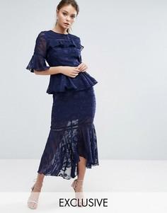 Многоярусное платье миди с выжженным узором и кружевными вставками Dark Pink - Темно-синий