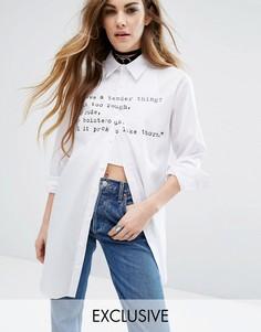 Рубашка с длинными рукавами и надписью Reclaimed Vintage X Romeo And Juliet - Белый