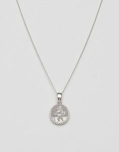 Серебристое ожерелье с небольшим медальоном Chained & Able - Серебряный