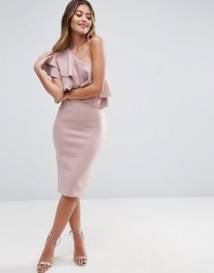 Облегающее платье миди на одно плечо с двойной оборкой ASOS - Бежевый