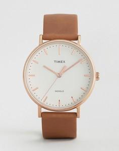 Часы с кожаным ремешком 41 мм Timex Fairfield - Черный