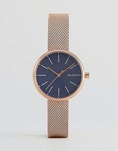 Золотисто-розовые часы с сетчатым ремешком Skagen - Золотой