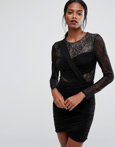BCBG MAXAZRIA Panelled Lace Mini Dress - Черный