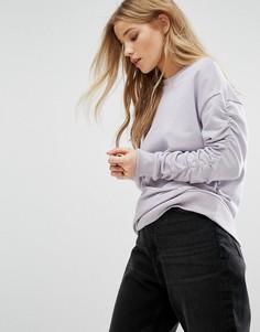 Свитшот с присборенными рукавами New Look - Фиолетовый
