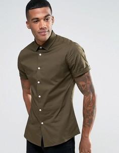 Облегающая рубашка цвета хаки ASOS - Зеленый