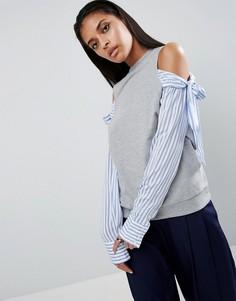 Свитшот с открытыми плечами и рукавами в рубашечном стиле ASOS - Серый