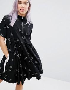Платье-футболка с молнией Lazy Oaf - Черный