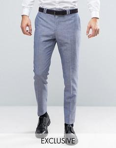 Узкие свадебные брюки из ткани с добавлением льна в крапинку Noak - Синий