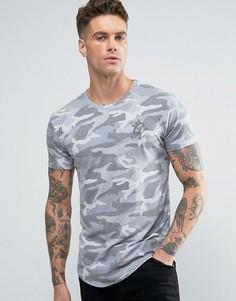 Обтягивающая камуфляжная футболка с логотипом Gym King - Черный