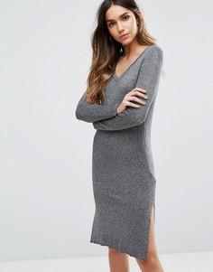 Платье миди с V-образным вырезом и длинными рукавами Vero Moda - Серый