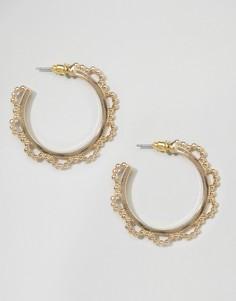 Серьги-кольца из шариковой цепочки ASOS - Золотой