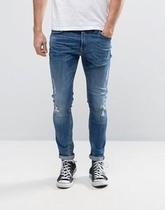 Зауженные джинсы с рваной отделкой Only & Sons - Синий