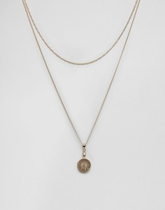 Длинное ожерелье в несколько рядов с филигранной подвеской ASOS - Золотой
