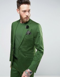 Зеленый приталенный пиджак из хлопкового сатина Devils Advocate - Зеленый