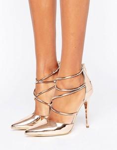 Office Spears Rose Gold Cross Strap Heeled Shoes - Золотой