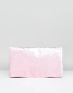 Бархатный клатч с клапаном ASOS - Розовый