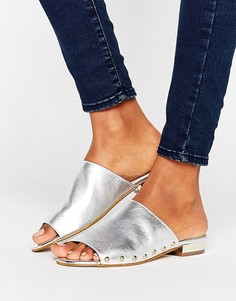 Carvela Kammie Silver Leather Stud Detail Mules - Серебряный