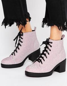 Ботинки с блестками на шнуровке Truffle Collection - Розовый