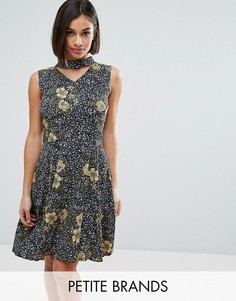 Yumi Petite Skater Dress With Choker Detail - Темно-синий