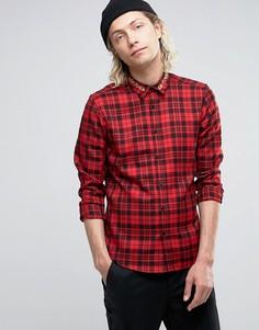 Рубашка классического кроя в клетку с вышивкой на воротнике ASOS - Красный