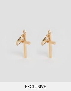 Серьги-кольца с крестиками Reclaimed Vintage - Золотой