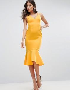 Платье миди с баской по краю и перекрестными бретельками на спине ASOS - Желтый
