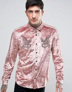 Бархатная рубашка классического кроя с вышивкой ASOS - Розовый