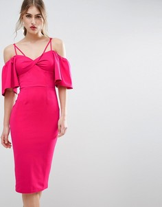 Платье миди с перекрученным дизайном спереди ASOS - Розовый
