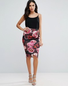 Jessica Wright Pencil Dress With Floral Skirt - Черный