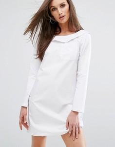 Платье в стиле рубашки со спущенными плечами Boohoo - Белый
