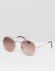 Солнцезащитные очки с двойной переносицей Monki - Золотой