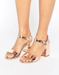 Босоножки на блочном каблуке цвета розового золота Dune Mylo - Медный