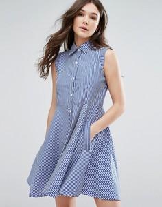 Короткое приталенное платье-рубашка QED London - Синий