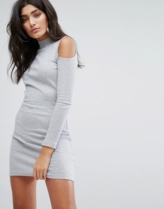 Облегающее платье с высоким воротом и открытыми плечами Daisy Street - Серый