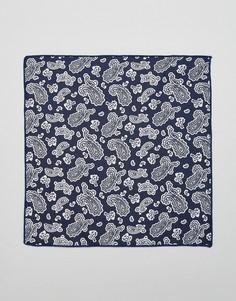 Платок для нагрудного кармана с цветочным принтом Selected Homme - Темно-синий