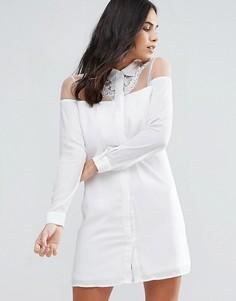 Fashion Union Lace Detail Dress - Белый