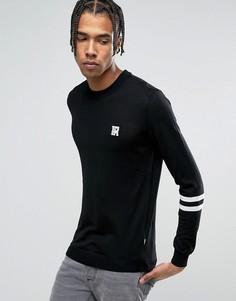 Джемпер с полосками на рукавах и принтом на груди Love Moschino - Черный