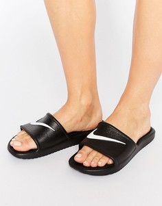 Черные шлепанцы с логотипом-галочкой Nike Kawa - Черный