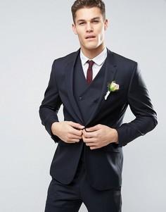 Темно-синий узкий пиджак из 100% шерсти ASOS WEDDING - Темно-синий