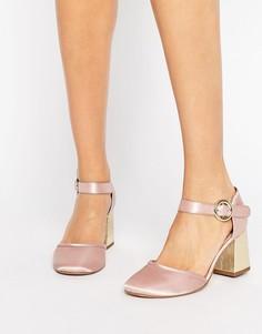 Атласные туфли на каблуке KG Poppy - Розовый